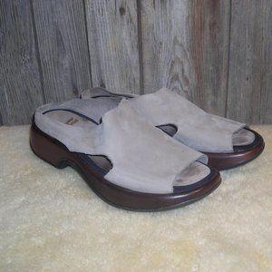 Dansko Solvei Brown Leather Peep Toe Slides Tan